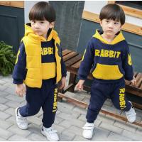 冬装儿童套装2019新款宝宝卫衣1-2-3-5岁半小孩衣服 兔子三件套-D198(加绒加厚)