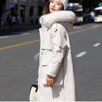 羽绒服女中长款2019新款韩版鸭绒时尚过膝超长保暖加厚外套 粉色+米色弧形真毛领
