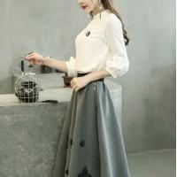 套装裙女蕾丝刺绣连衣裙小香风七分袖中长款两件套裙子2019秋冬季